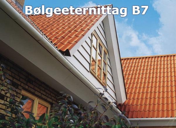 Bølgeeternittag B7 - pladen er kort (57 cm) og giver derfor et tegl-look