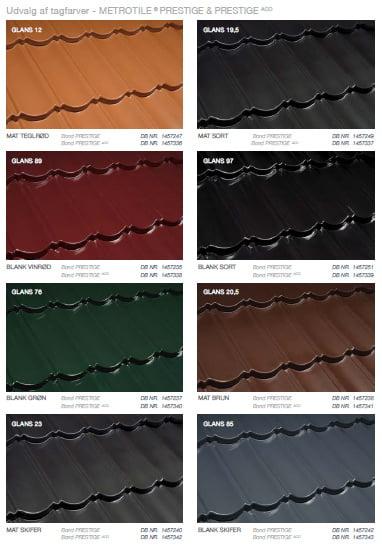 Udvalg af farver Metrotile Prestige og Prestige ACO