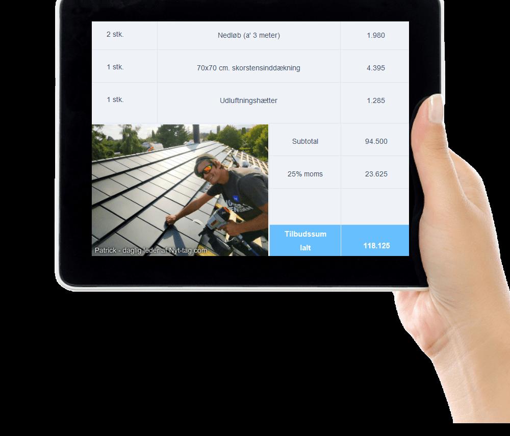 Beregn pris på nyt tag med din tablet, computer eller mobil