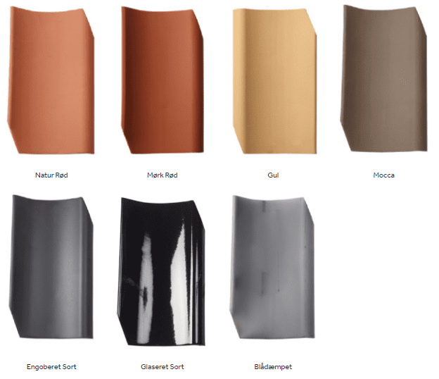 7 Farver på vingetegl model Gammel Dansk